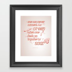 Soar - Illustrated quote of Helen Keller Framed Art Print
