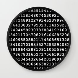 Pi on Black Wall Clock