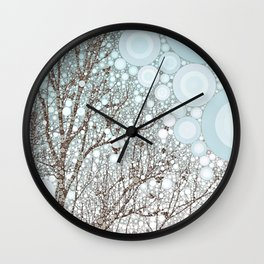 A Dream in Winter abstract whimsical landscape snow tree branches birds Wall Clock