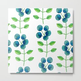 Blue Berry Flower Metal Print