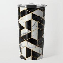 Black and White Marble Hexagonal Pattern Travel Mug