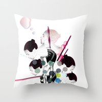 bubbles Throw Pillows featuring Bubbles by Stéphanie Brusick / Art by shop