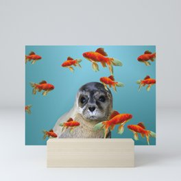 Goldfish with sea lion Baby Mini Art Print