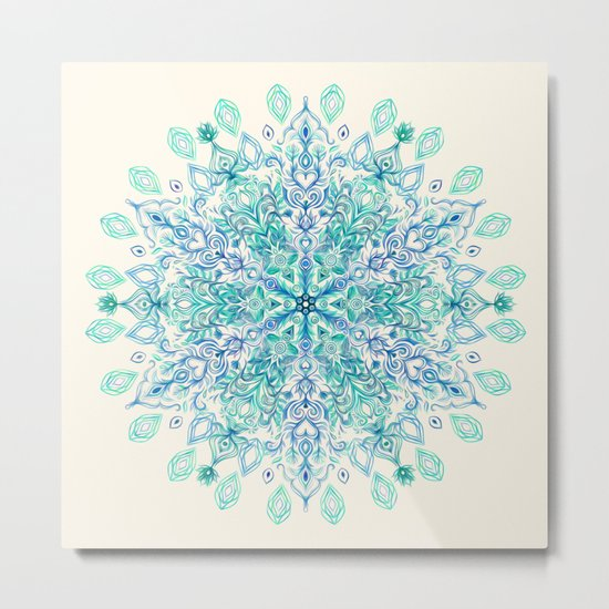 Peppermint Snowflake on Cream Metal Print