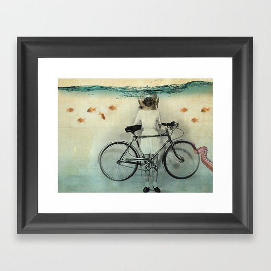 The diving bell cyclist Framed Art Print