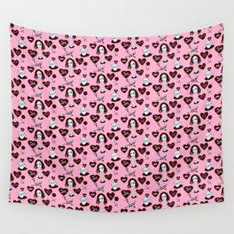 aspri petra white stone heart kalimera pink Wall Tapestry