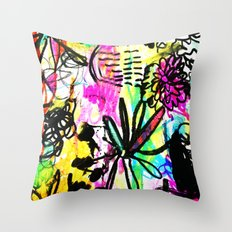 hot pink doodles Throw Pillow