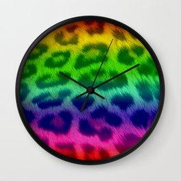 Rainbow Leopard Print Pattern Design Wall Clock