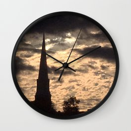 Steeple at sunset in Vermont Wall Clock