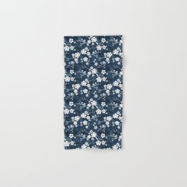 Navy and white cherry blossom pattern Hand & Bath Towel