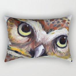 Burrowing Owl Palette Knife Painting in Oil by Award Winning San Francisco Bay Artist Lisa Elley Rectangular Pillow