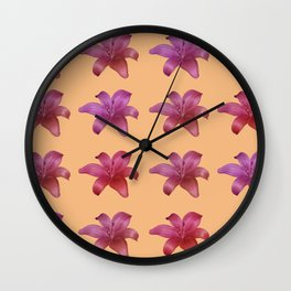 Elegant Lily Collage Wall Clock