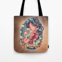 blood Tote Bags featuring Royal Blood by Tim Shumate