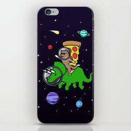 Cat And Pizza Riding Triceratops In Space iPhone Skin