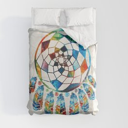 Native American Colorful Dream Catcher by Sharon Cummings Comforters