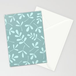Assorted Leaf Silhouettes Teals Stationery Cards