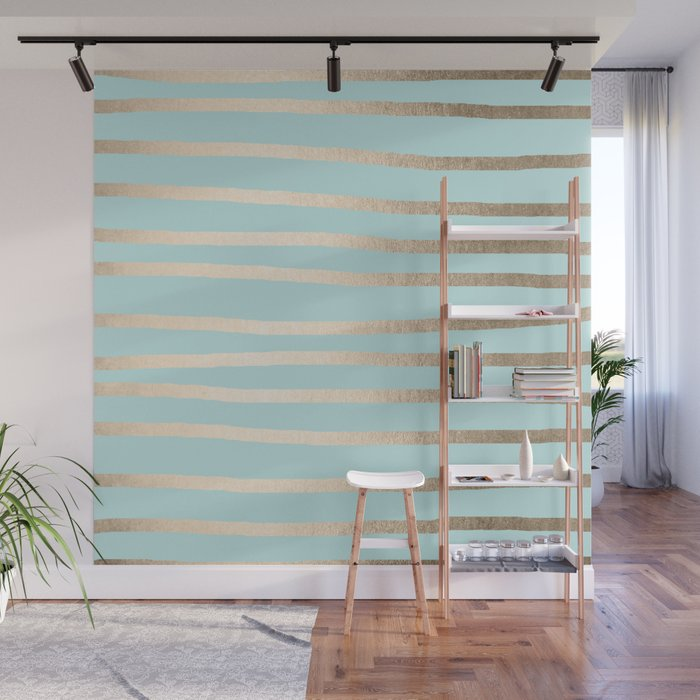 Simply Drawn Stripes White Gold Sands on Succulent Blue Wall Mural