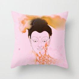 Pink Gautama Buddha Throw Pillow