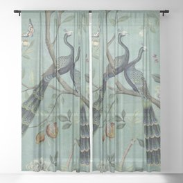 A Teal of Two Birds Chinoiserie Sheer Curtain