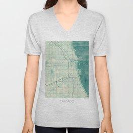 Chicago Map Blue Vintage Unisex V-Neck