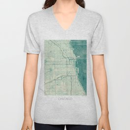 Chicago Map Blue Vintage Unisex V-Neck