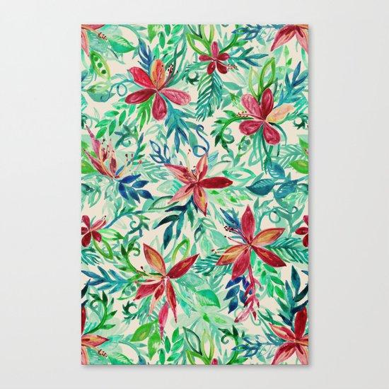 Vintage Tropical Floral - a watercolor pattern Canvas Print