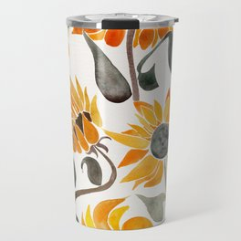 Sunflower Watercolor – Yellow & Black Palette Travel Mug