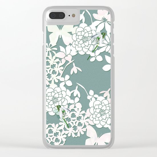 Papercut snowdrops Clear iPhone Case