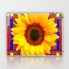 WESTERN BLUE-RED YELLOW SUNFLOWER FLORAL ART Laptop & iPad Skin