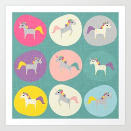 Cute Unicorn polka dots teal pastel colors and linen texture #homedecor #apparel #stationary #kids Art Print