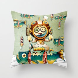 The undersea chef Throw Pillow