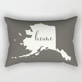 Alaska is Home - White on Charcoal Rectangular Pillow