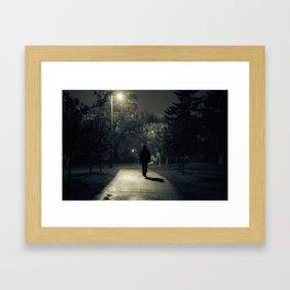 winter walk; morning commute Framed Art Print