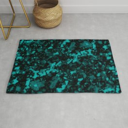 A gloomy cluster of light blue bodies on a dark background. Rug