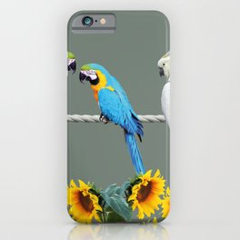 Macaw and cockatoo on rope with sunflowers iPhone Case