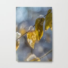 Snowy Mustard Yellow Leaves Metal Print