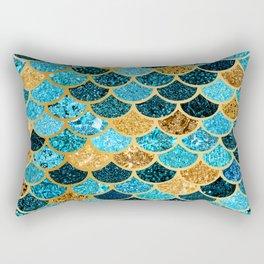 Glitter-Bling Blues, Aquas, & Gold Mermaid Scales Rectangular Pillow