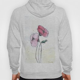 Poppies painting watercolor and black ink illustration Hoody