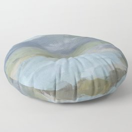 Diptych II - Sky Gray Blue Sage Green Abstract Wall Art, Painting Art, Lake Nature Print Portrait Floor Pillow
