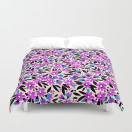 10 Pretty pattern in small flower. Small purple flowers. White background. Duvet Cover