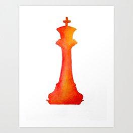 Chess King Watercolor Art Print