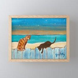 Cats on a Fence Framed Mini Art Print