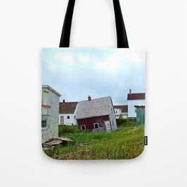 Lighthouse and shacks in North-Rustico PEI Tote Bag