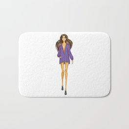 GIRL - Lady In BLUE - brown-haired - watercolor Bath Mat