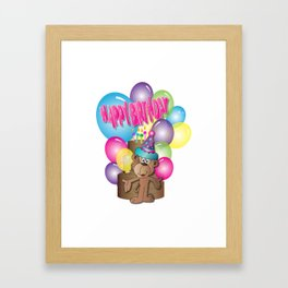 Happy Birthday Monkey Framed Art Print