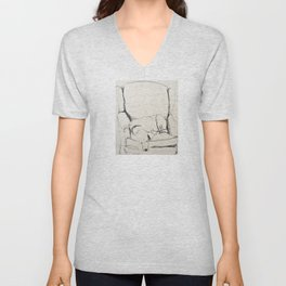 Elwood in a chair Unisex V-Neck
