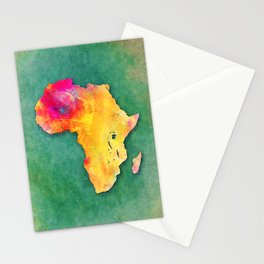 Africa map yellow green Stationery Cards
