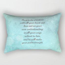 Proverbs 3:5-6, Encouraging Bible Quote Rectangular Pillow