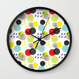 Dots party colorful bubble pattern design combined textures wrap Wall Clock