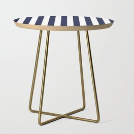 Maritime pattern- darkblue stripes on clear white - vertical Side Table